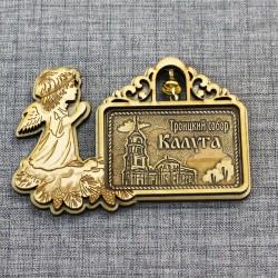 """Магнит из бересты прям рожд ангел с колокольчиком""""Свято-Троицкий Кафедральный собор. Калуга"""