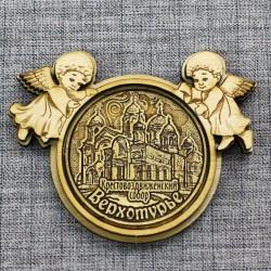 """Магнит из бересты  круг  ангел """"Крестовоздвиженский собор"""" Верхотурье"""