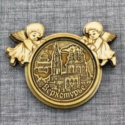 """Магнит из бересты круг ангел """"Свято-Троицкий собор"""" Верхотурье"""