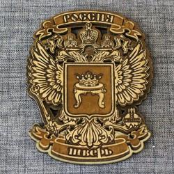 """Магнит из бересты резной с золотом """"Герб-орел"""" Тверь"""
