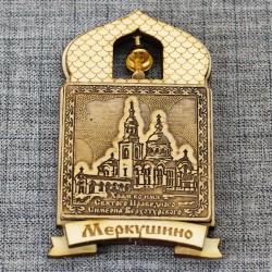 """Магнит из бересты купол """"Храм во и.Св.Прав.Симеона Верхотурского"""""""