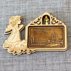 """Магнит из бересты прямоугольный ангел с колокольчиком """"Общий вид"""" Храм во имя Св.Прав.Симеона Верхотурского"""""""