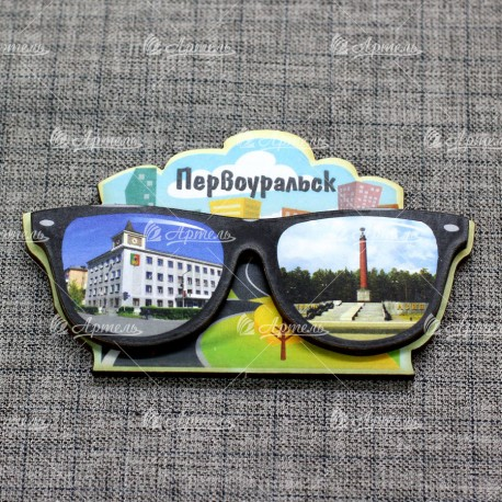 """Магнит цветной очки """"Администрация+Граница Европа-Азия"""" Первоуральск"""