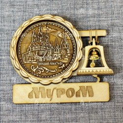 """Магнит из бересты с колоколом """"Троицкий монастырь"""" Муром"""