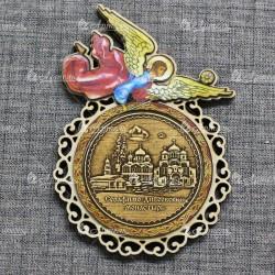 """Магнит из бересты (цвет) ангел """"Три собора""""Дивеевский монастырь"""