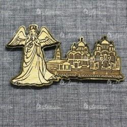 """Магнит из бересты резной с золотом ангел""""Три собора.Дивеевский монастырь"""""""