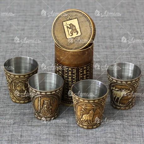 "Набор стопок мал (4шт ) ""Герб"" Марий Эл"