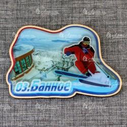 """Магнит со смолой """"Лыжник + Горнолыжный курорт"""" озеро Банное"""