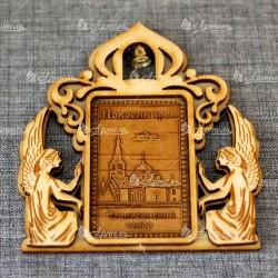 """Магнит из бересты прямоугольный ангелы с колокольчиком """"Вознесенский собор"""""""