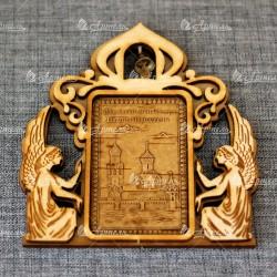 """Магнит из бересты прямоугольный ангелы с колокольчиком """"Мужской монастырь Иоанна Предтечи"""""""