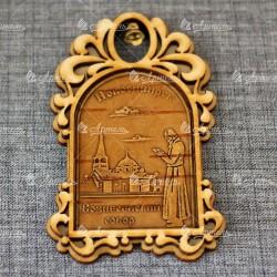 """Магнит из бересты арка с колокольчиком """"Вознесенский собор+монах"""""""