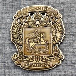 """Магнит из бересты резной c золотом """"Герб-Орел"""" Москва"""
