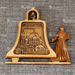 """Магнит из бересты монах с колоколом """"Успенский собор"""""""