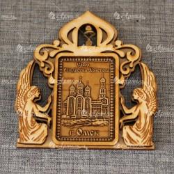 """Магнит из бересты прямоугольный ангелы с колокольчиком """"Собор Рождества Христова"""""""