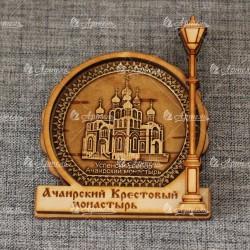 """Магнит из бересты фонарь """"Успенский собор.Ачаирский монастырь"""""""