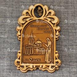 """Магнит из бересты арка с колокольчиком """"Никольский Казачий собор"""""""