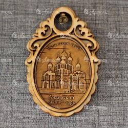 """Магнит из бересты овал с колоколом """"Успенский собор.Ачаирский монас"""