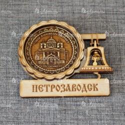 """Магнит из бересты с колоколом """"Собор А.Невского"""""""
