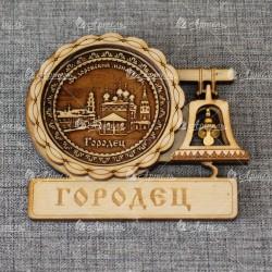 """Магнит из бересты с колоколом """"""""Федоровский монастырь"""""""