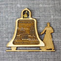 """Магнит из бересты монах с колоколом """"Собор Николы Белого"""" Серпухов"""