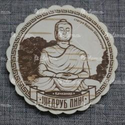 """Магнит из бересты круг """"Шедруб Линг Статуя Будды Шакьямуни"""" Качканар"""