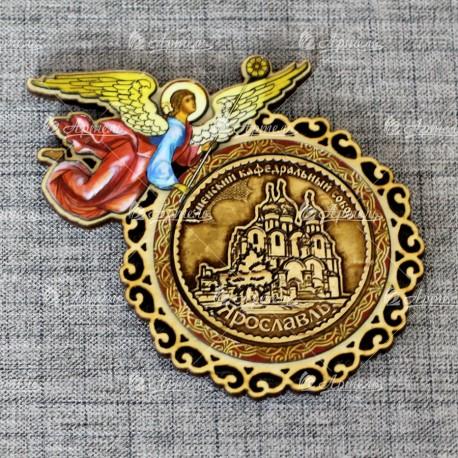 """Магнит из бересты (цвет) ангел """"Успенский кафедральный собор"""" Ярославль"""