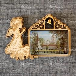 """Магнит из смолы прямоугольный ангел с колокольчиком """"Св-Пафнутьев Боровск"""