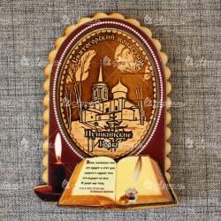 """Магнит из бересты книга+свеча """"Святогорский монастырь"""" Пушкинские горы"""