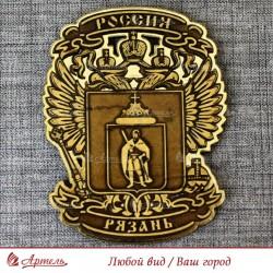 """Магнит из бересты резной с золотом """"Герб-орел"""" Рязань"""