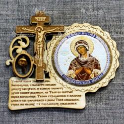 """Магнит цветной круг.крест с кол-м """"Пресвятая Богородица Семистрельная"""""""