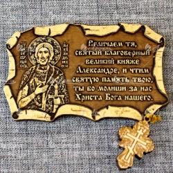 """Магнит из бересты свиток с крестом """"Александр Невский"""