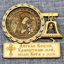 """Магнит из бересты с колоколом (молитва) Ангел Хранитель"""""""