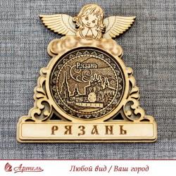 """Магнит из бересты круглый ангел""""Кремль"""""""