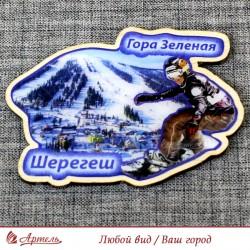 """Магнит из смолы """"Сноубордист+гора Зеленая"""" Шерегеш"""