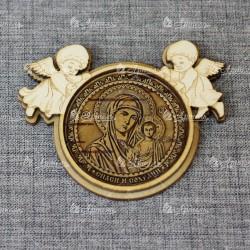 """Магнит из бересты ангелы """"Пресвятая Богородица """"Казанская"""""""