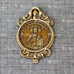 """Магнит из бересты круглый с колоколом """"Иисус"""""""