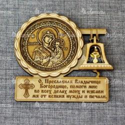 """Магнит из бересты с колоколом (молитва) Богородица Тихвинская"""""""