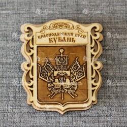 """Магнит из бересты """"Герб"""" (Краснодарский край.Кубань)"""