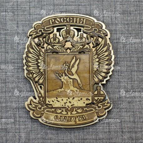"""Магнит из бересты резной с золотом """"Герб-орел"""" Елабуга"""