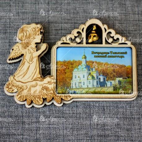 """Магнит со смолой прям ангел с колокольчиком """"Богородице-Табынский монастырь"""" осень Уфа"""