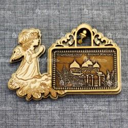 """Магнит из бересты прям рожд ангел с кол-м """"Софийский собор""""В-Новгород"""