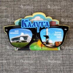 """Магнит цветной очки """"Музей космонавтики+Шар с памятником""""Калуга"""