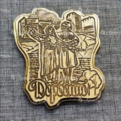 Магнит из бересты резной с золотом Дербент. Ингушетия