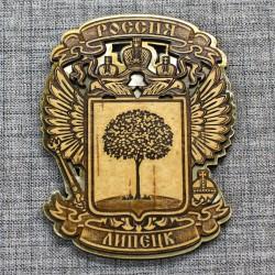 """Магнит из бересты резной с золотом """"Герб-Орел"""" Липецк"""