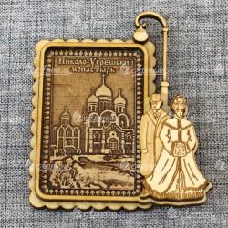 """Магнит из бересты прямоугольный фонарь+пара1 """"Николо-Угрешский монастырь"""""""