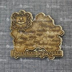 """Магнит из бересты резной с золотом """"Брянская губерния"""" Брянск"""