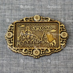 """Магнит из бересты б-страз прям """"Покровский монастырь""""Суздаль"""