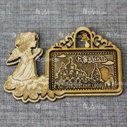 """Магнит из бересты прям рожд ангел с колокольчиком """"Покровский монастырь"""". Суздаль"""