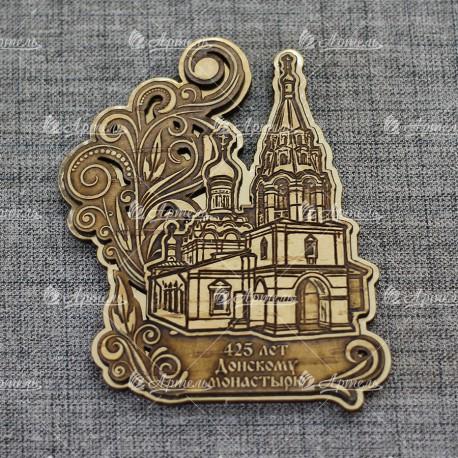"""Магнит из бересты резной c золотом """"Донской монастырь.Малый собор"""" 425 лет"""