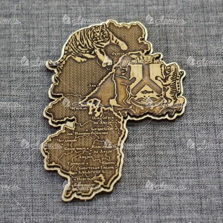 """Магнит из бересты резной с золотом """"Карта+герб+тигр"""" Хабаровск"""